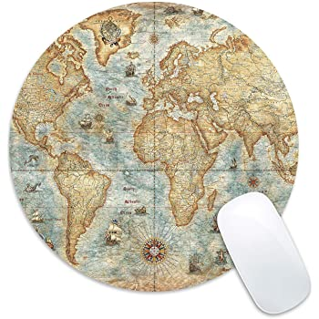 12.2IN ditu Cmhoo Circular Earth Fashion Design Round Mousepad Gaming Mouse Pad with Non Slip Rubber Mouse Pads Cute 31cm