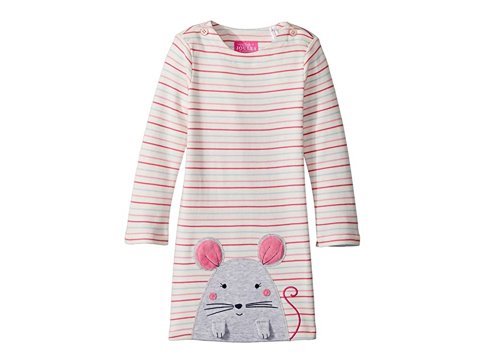 Joules Kids Applique Dress (Infant) (Multi Stripe Mouse) Girl