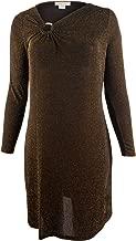 Michael Kors Women's Plus Size Metallic Asymmetrical V Neck Dress