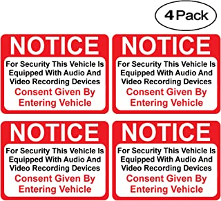 (4 Pack) Notice Vehicle is Equipped with Audio and Video Recording Devices Consent by Entering Sticker - Self Adhesive 2½ X 3½