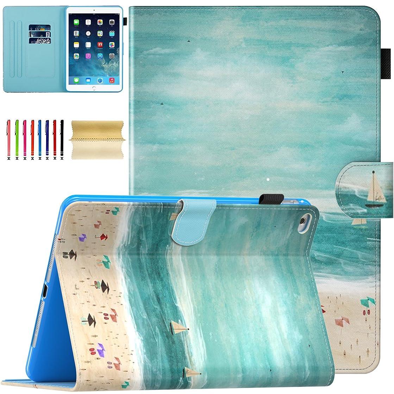 iPad 9.7 inch 2018/2017, iPad Air 2, iPad Air Case - Casii Multi-Angle Viewing Folio Cover Corner Protective Case Auto Sleep/Wake Smart Wallet Cover for Apple iPad 6th/5th Gen,iPad Air 1/2,Beach