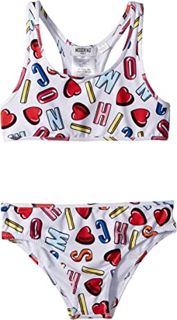Moschino Kids - All Over Logo Heart Print Two-Piece Bathing Suit (Big Kids)