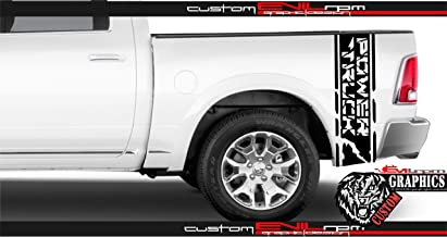 Evilrpm Vinyl Sticker Decal Truck Bed Graphics-Custom Distressed Rear Stickers kit for Dodge RAM - Truck Bed Accent Vinyl Graphics