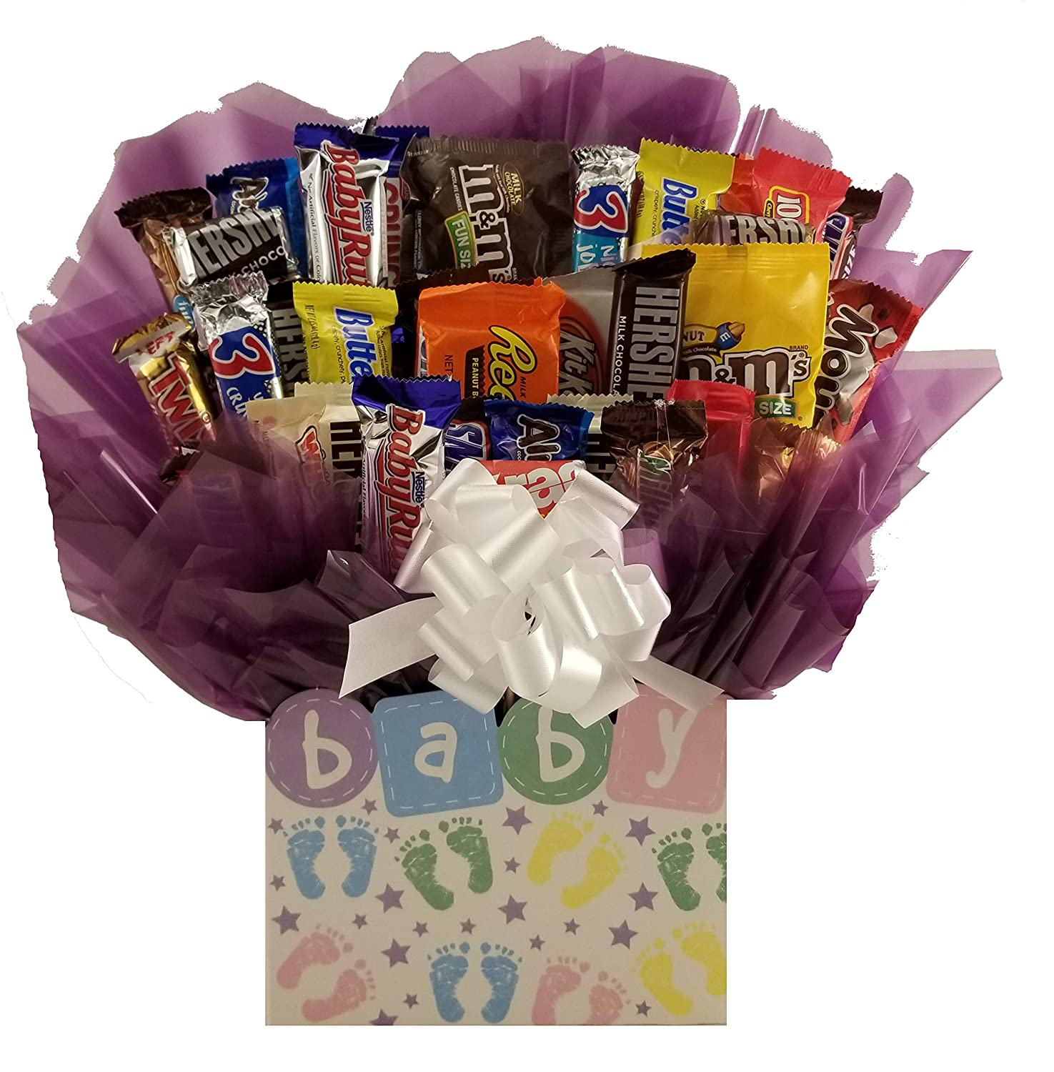 Hugs & Kisses Chocolate Candy Bouquet gift basket box - Great gift for Birthday, Get Well, Thank You, Congratulations, Christmas or for any occasion for family, friends or business client customer.