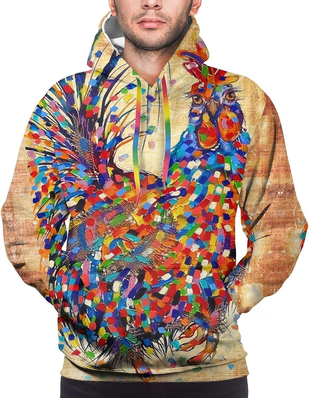 Hoodie For Mens Womens Teens Vintage Rooster Newspaper Hoodies Fashion Sweatshirt Drawstring