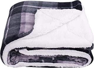 SOCHOW Sherpa Plaid Fleece Throw Blanket, Double-Sided Super Soft Luxurious Bedding Blanket 60 x 80 inches, Grey