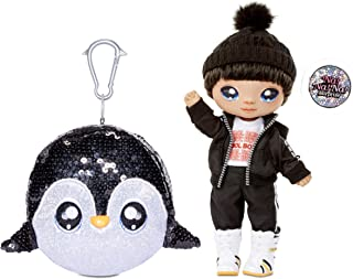 """Na Na Na Surprise 2-in-1 Boy Fashion Doll and Sparkly Sequined Purse Sparkle Series – Andre Avalanche, 7.5"""" Penguin Boy Doll"""