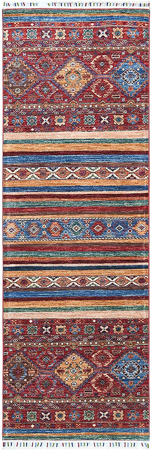 Shahbanu Rugs Red 2021new shipping free shipping Super Kazak Tassl Khorjin New Orleans Mall Colorful with Design
