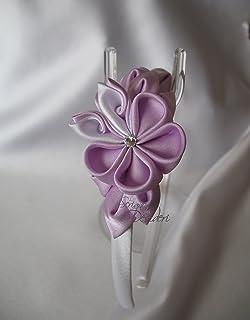 Cerchietto con fiori kanzashi lilla e bianco