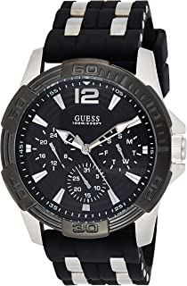 GUESS Black Stainless Steel Stain Resistant Silicone Watch with Day, Date + 24 Hour Military/Int'l Time. Color: Black (Model: U0366G1)