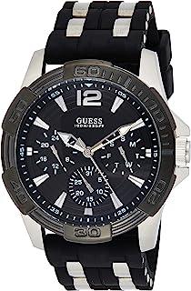 ساعة U0366G1 سوداء متعددة الوظائف رياضية للرجال مع سلاسل فضية من جيس