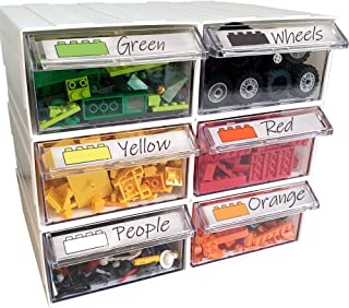 Pro Blocks Building Brick Storage Drawers - Stackable Plastic Drawer Organizer for Legos and Small Toys
