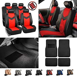 FH Group PU021115 Synthetic Leather Full Combo Set Auto Seat Covers w. Seatbelt Pads, Steering Wheel Cover and Floor Mats Red/Black - Fit Most Car, Truck, SUV, or Van