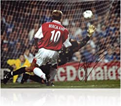Dennis Bergkamp Signed Arsenal Soccer Photo: The Leicester Hat Trick
