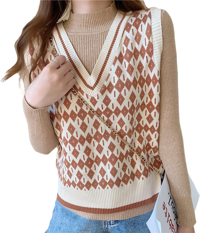 N-brand Women's Knit Vest Sleeveless Sweater Waistcoat Fall/Winter Loose V-Neck Waistcoat Casual Pullover Tops