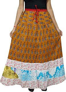 Mogul Interior Women's Maxi Skirt A-Line Printed Bohemian Cotton A-line Gypsy Hippie Long Skirt L Brown