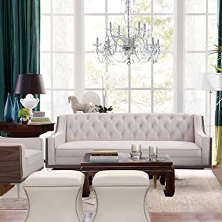Velvet Button Tufted Sloped Arm with Walnut Finish and Silvertone Chrome Y-Leg Sofa, Cream White