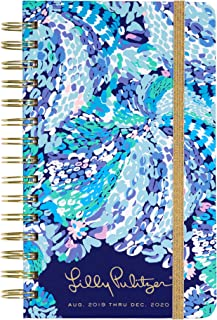 "$24 » Lilly Pulitzer Medium 17 Month Hardcover Agenda, 8.25"" x 5"" Personal Planner with Monthly and Weekly Spreads for Aug. 2019 - Dec. 2020, Wave After Wave"