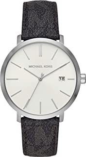 ساعة بليك جلدية للرجال من مايكل كورس بمينا ابيض وعرض انالوج - MK8763