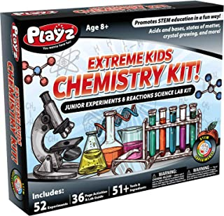 Playz STEM Extreme Kids Chemistry Junior Experiments & Reactions Science Lab Kit - 52+ Experiments, 36 Page Laboratory Gui...