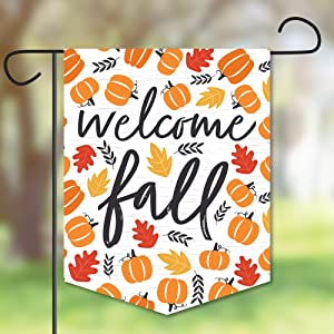 Big Dot of Happiness Fall Pumpkin - Outdoor Lawn and Yard Home Decorations - Halloween or Thanksgiving Party Garden Flag - 12 x 15.25 inches