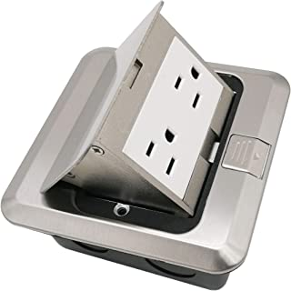 Pop Up Floor Box Countertop Box w/15A with Duplex Receptacle - Stainless Steel