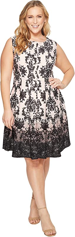 KARI LYN Plus Size Cora Cap Sleeve Fit and Flare Dress