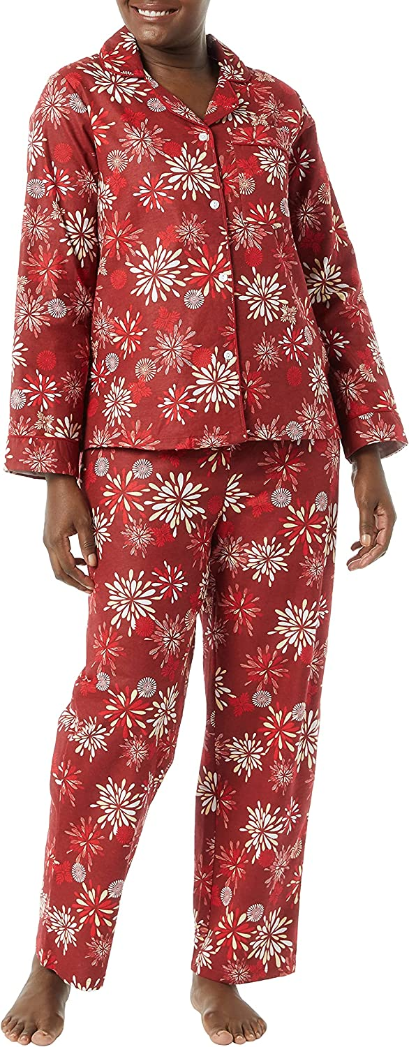 AmeriMark Womens Flannel Pajama Two Piece Set PJ Sleepwear with Button Front Top