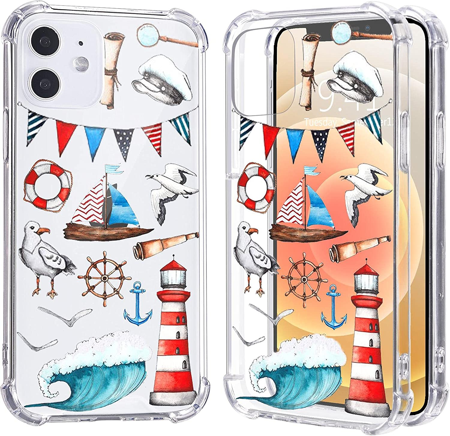 LuGeKe Anchor Case for iPhone 6/6S,Sailing Boat Pattern Clear Soft TPU Flexible Full-Body Airbag Shockproof Case Cover for Girls Women,Transparent Anti-Scratch Bumper Protection Phone Case
