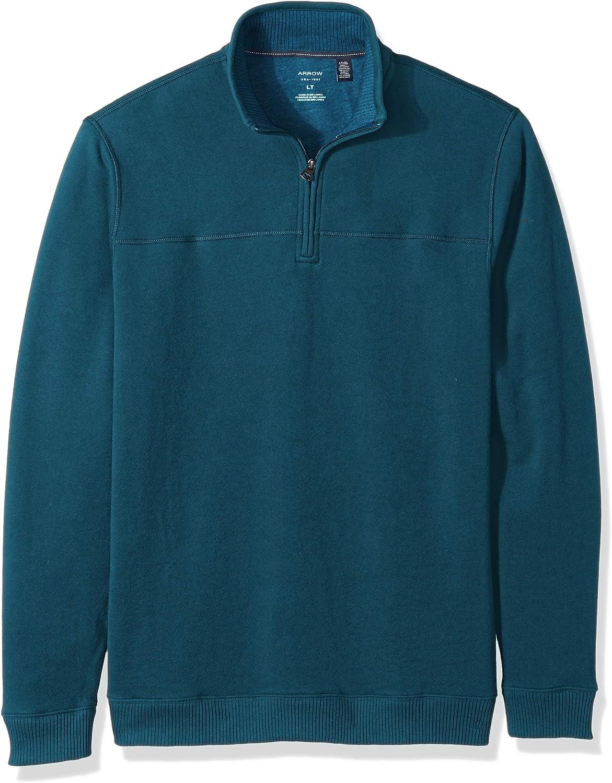 Arrow 1851 Men's Big Saranac Long Sleeve 1/4 Zip Sueded Fleece Pullover, Legion Blue Heather, 4X-Large Tall