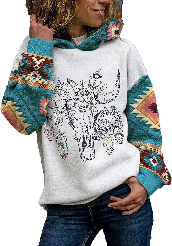 Akivide Women's Western Aztec Print Indian Pattern Bull Skull Pullover Hoodie Aztec Sleeves Color Block Hoodie Women