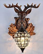 EFFORTINC Deer heads Antlers vintage style resin wall lamp 1 Light, Rural countryside antler wall lamp,Living room,Bar,Cafe