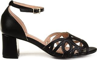 Brinley Co. Womens Arlen Faux Leather Ankle Strap Open-Toe Heels