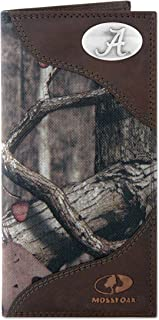 NCAA Alabama Crimson Tide Zep-Pro Mossy Oak Nylon and Leather Secretary-style Roper Concho Wallet, Camouflage, One Size