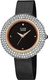 Burgi Women's BUR220 Swarovski Crystal & Diamond Accented Stainless Steel Mesh Bracelet Watch