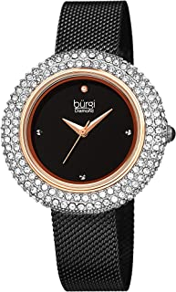 Burgi Swarovski Crystal Women's Watch - A Diamond Hour Marker on Accented Stainless Steel Mesh Bracelet Wristwatch - Perfect for Mother's Day - BUR220