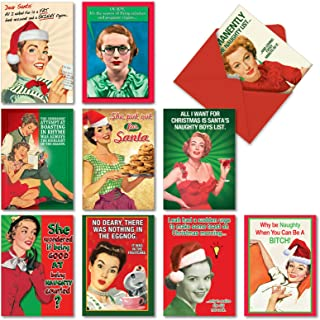 10 Naughty is Nice Boxed Funny Christmas Cards With Envelopes (4.63 x 6.75 Inch) - Vintage Assorted Greeting Cards From Women, Wife, Girls - Retro, Hilarious Happy Holiday & Merry Xmas Cards A1255