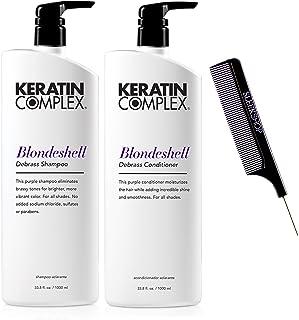 Keratin Complex BLONDESHELL DEBRASS & BRIGHTEN Shampoo & Conditioner DUO SET (Stylist Kit) Violet Purple Shampoo for Yello...