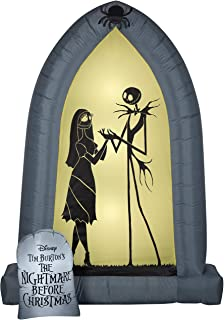 Gemmy 7' Airblown Nightmare Before Christmas Arch w/Jack and Sally Silhouettes