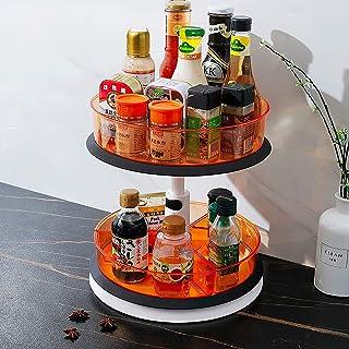 Qisiewell Plateau tournant à 2 niveaux de hauteur réglable Lazy Susan - Organiseur d'épices rotatif pour cuisine ou salle ...