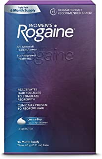 Women's ROGAINE 5% Minoxidil Topical Aerosol Hair Regrowth Treatment (Unscented) Foam - SIX MONTH SUPPLY - Three 60g. (2.11 oz) Cans (Packaging varies)