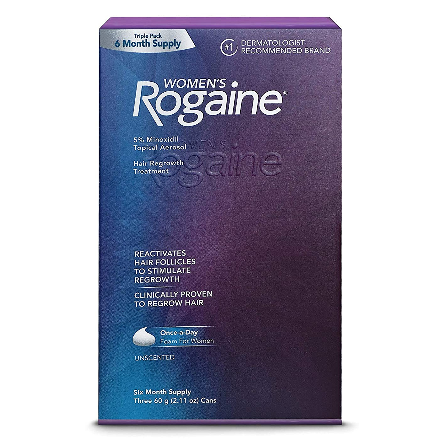 Women's ROGAINE 5% Minoxidil Topical Aerosol Hair Regrowth Treatment (Unscented) Foam - SIX MONTH SUPPLY - Three 60g. (2.11 oz) Cans (Packaging varies) fpirzrjvtds825