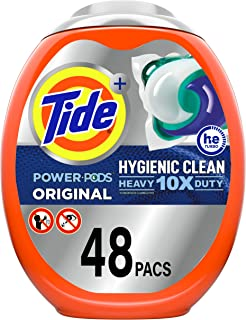 Tide Hygienic Clean Heavy 10x Duty Power PODS Laundry Detergent Pacs, Original, 48 count, For Visible and Invisible Dirt