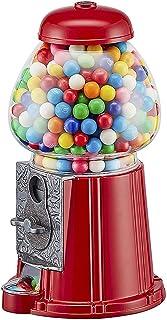 Wahou 25-1270R Distributeur de chewing-gum rétro Tirelire Rouge et transparent Métal et verre Petit modèle D11 x H23 cm