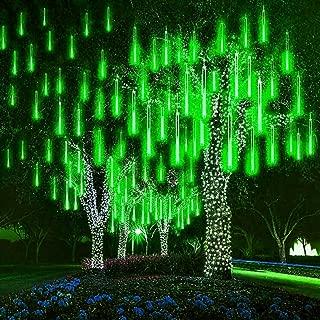 WONFAST Solar Meteor Shower Rain Lights, Waterproof Garden Lights 30cm 8 Tubes 288leds Snow Falling Raindrop Icicle Cascading String Light for Christmas Party Wedding Xmas Tree Decoration (Green)