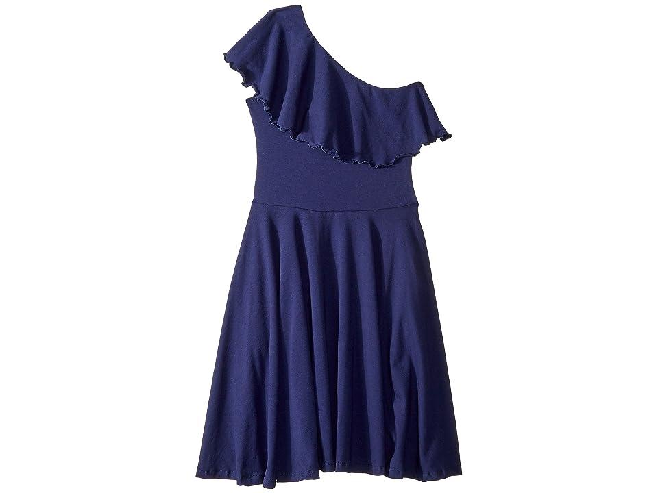 fiveloaves twofish Zoe One Shoulder Knit Dress (Little Kids/Big Kids) (Navy) Girl