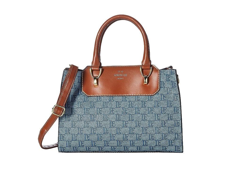 London Fog Belmont Satchel - Logo - Printed (Denim) Handbags, Blue