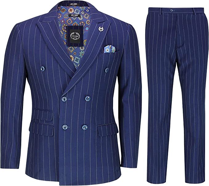 1930s Men's Clothing Mens 3 Piece Double Breasted Suit 1920s Retro Navy Pinstripe Classic Tailored Fit £139.99 AT vintagedancer.com