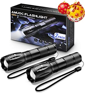Amuoc Flashlight, Upgrader LED Tactical Flashlight S1000 - High Lumen, 5 Modes, Zoomable, Water Resistant, Handheld Light - Best Camping/Outdoor/Hiking(Batteries Not Included) (2 Pack)