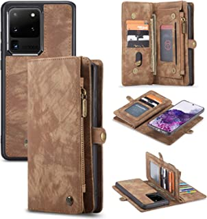 AKHVRS Galaxy S20 Ultra Wallet Case, Handmade Premium Cowhide Leather Wallet Case,Zipper Wallet Case [Magnetic Closure] Detachable Magnetic Case & Card Slots for Samsung Galaxy S20 Ultra - Brown
